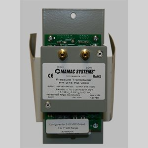 Mamac Low Pressure Sensor, Panel Mount, Transducer, 0-5 or 0-10 VDC Output